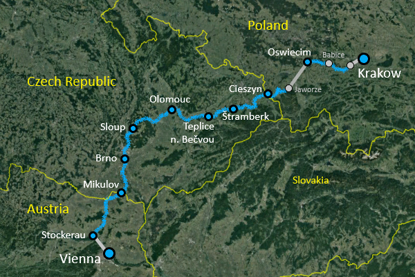 Vienna - Krakow Bike Tour Route