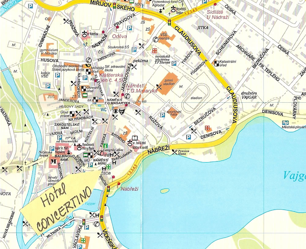 Detailed town map of Jindrichuv Hradec for biking vacation in Europe