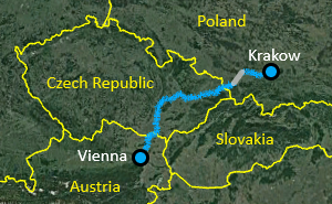 Vienna-Krakow Bike Tour Map